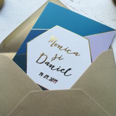 invitatie nunta hexagon folio