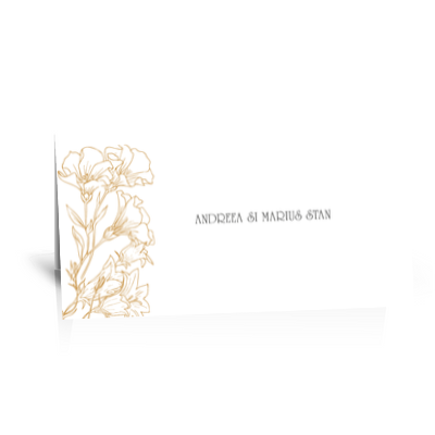 Plic de bani pentru nunta cu flori aurii 1