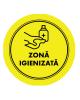 "Mini sticker cu mesaj ""Zona igienizata"" 4"