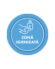 "Mini sticker cu mesaj ""Zona igienizata"" 2"