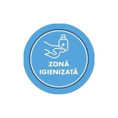 "Mini sticker cu mesaj ""Zona igienizata"" 1"