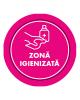 "Mini sticker cu mesaj ""Zona igienizata"" 6"