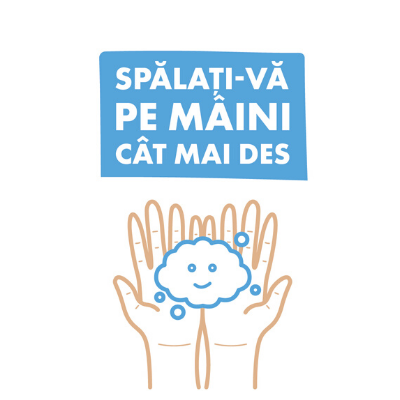 "Set 5 mini stickere cu mesaj ""Spalati-va pe mâini cat mai des"" 1"