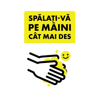 "Set 5 mini stickere cu mesaj ""Spalati-va pe maini cat mai des"" 1"